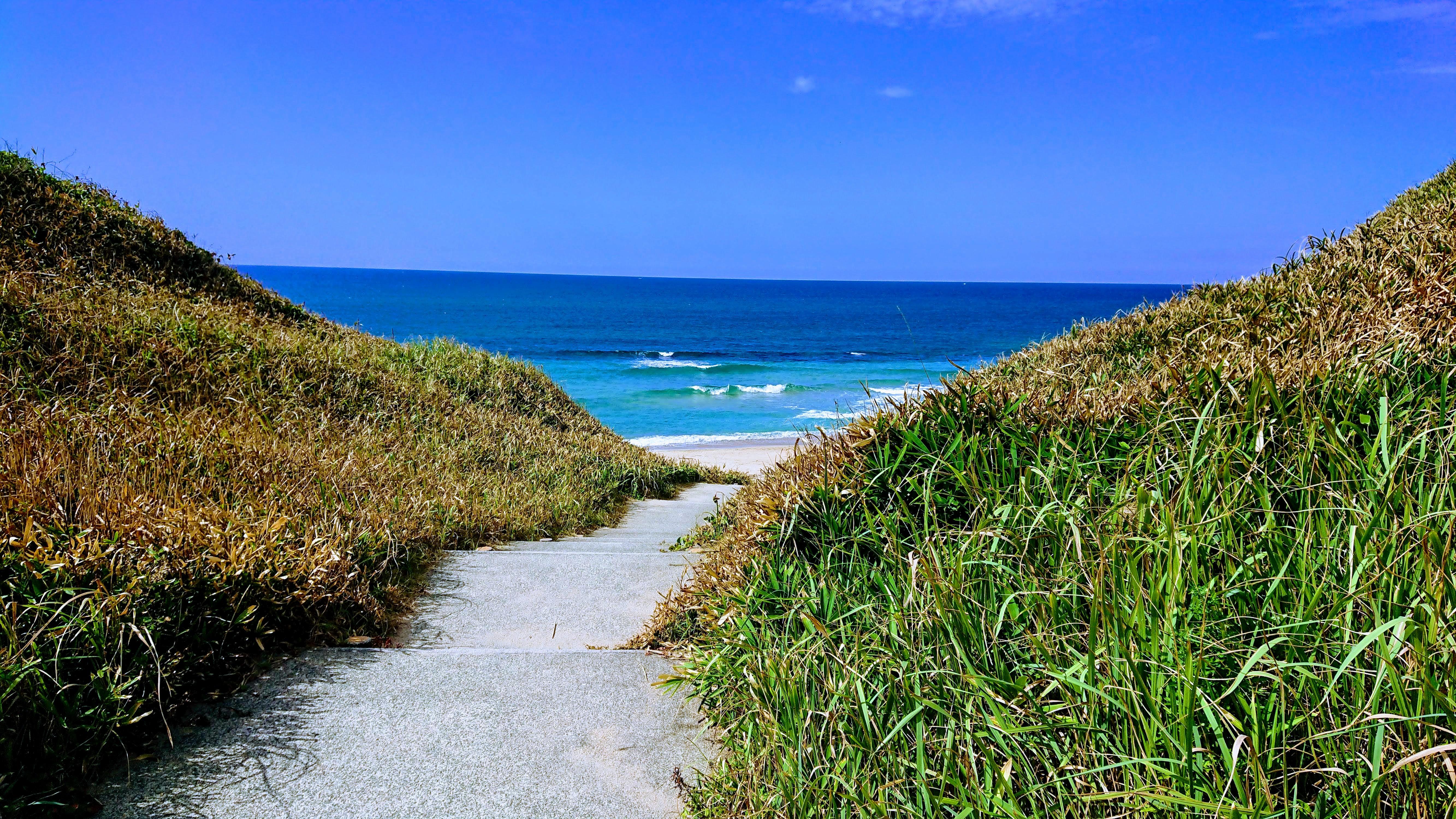 道の向こうに見える海