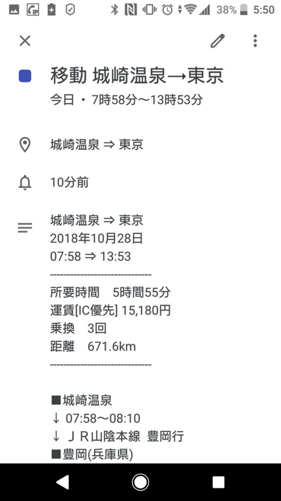 Googleカレンダーのウィジェットから表示した予定