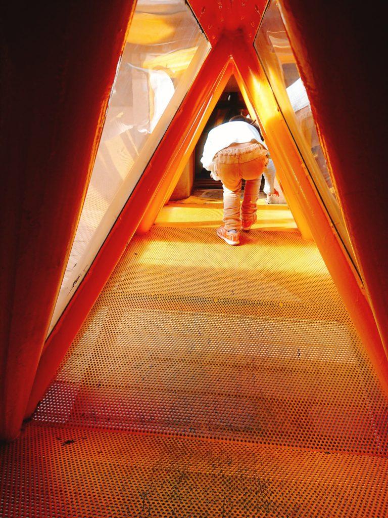 鳥取市 鳥取砂丘こどもの国の空中回廊式遊具に入った子供