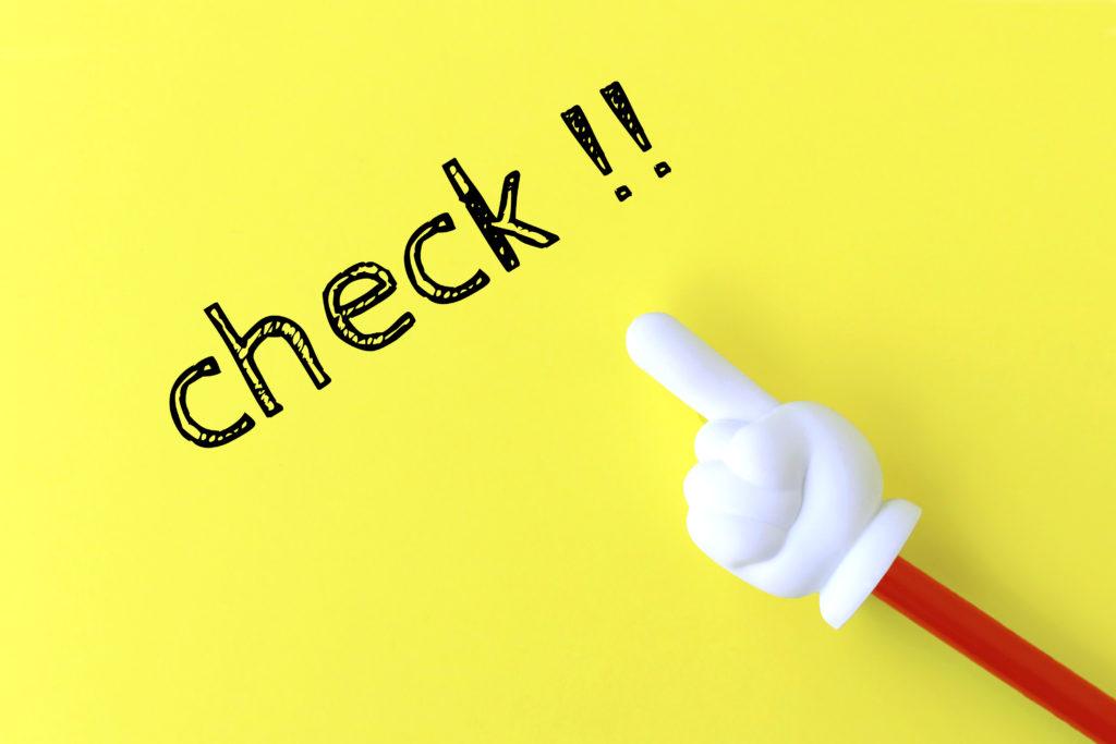 「check」の文字と指さし棒