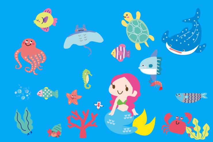 海の中の人魚と生き物たち