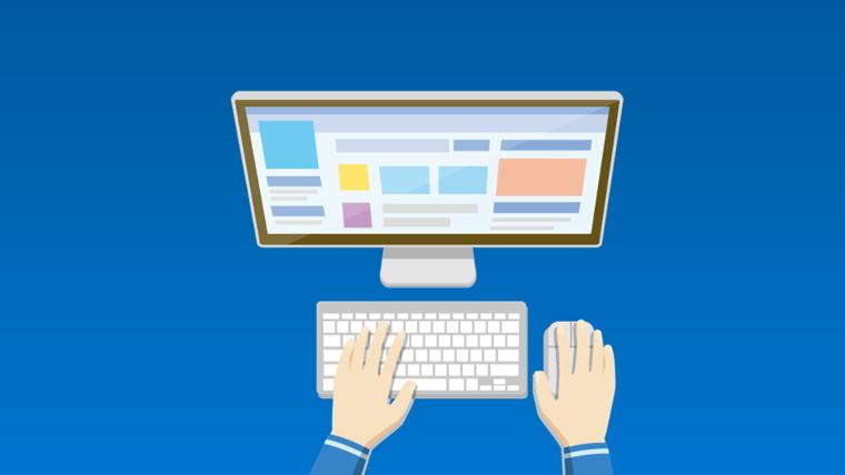 パソコンと操作する手
