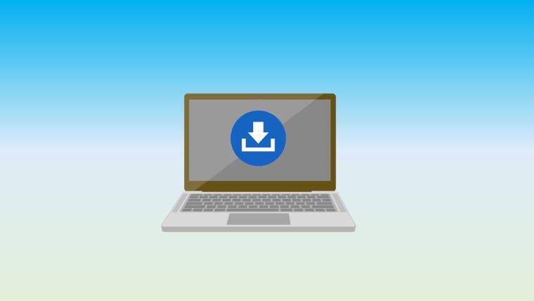 ノートパソコンとダウンロードマーク