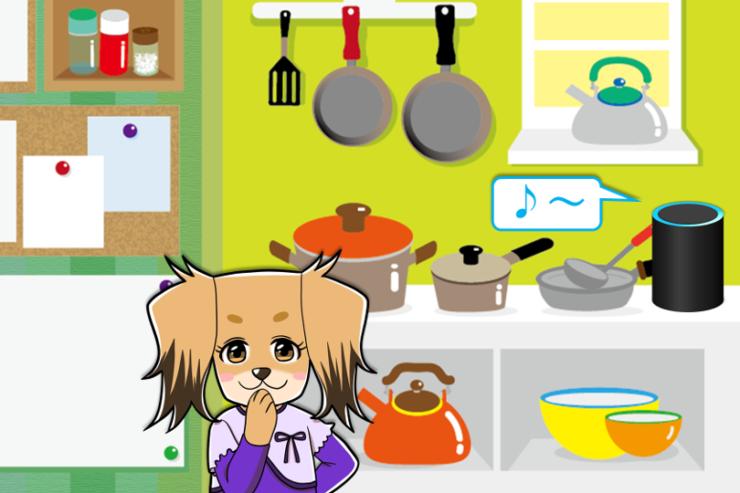 キッチンでアレクサを使う女の子