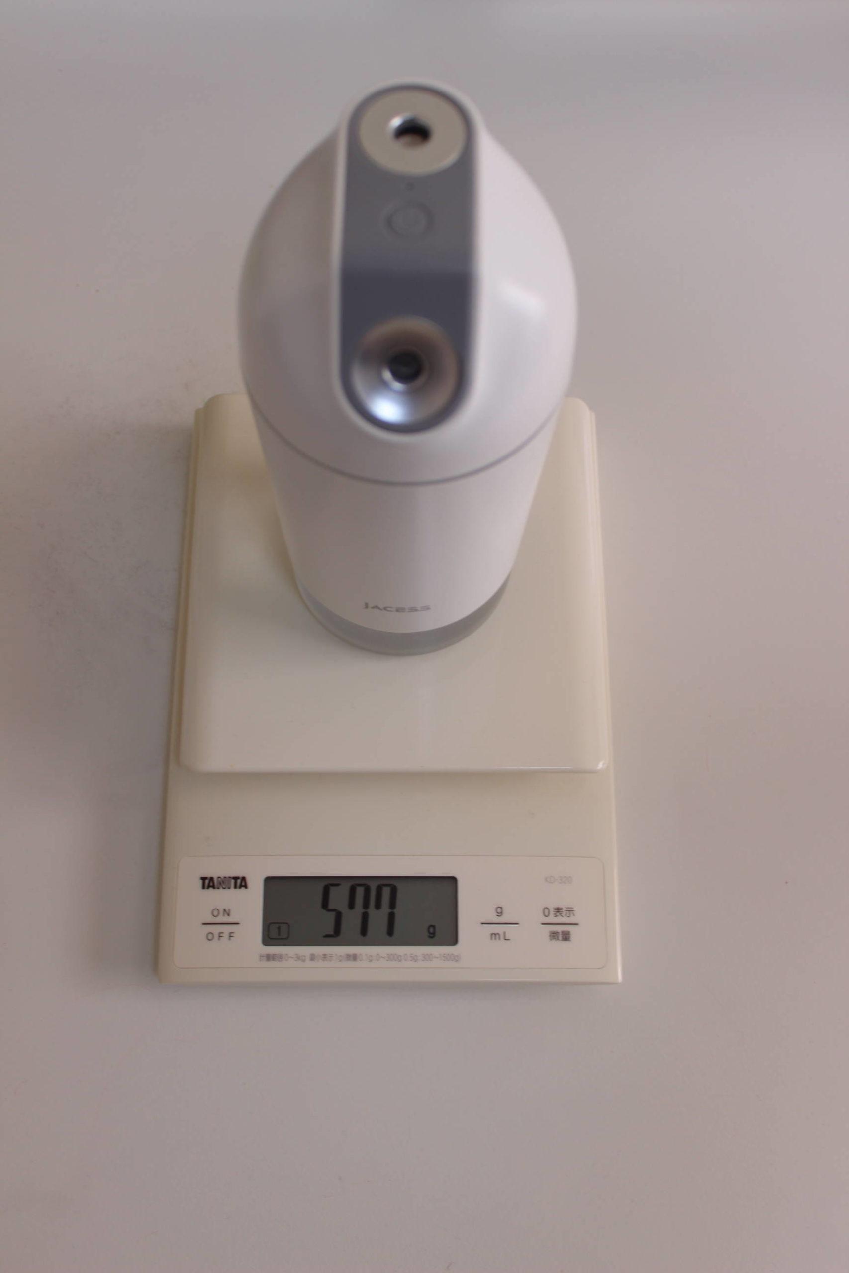 JACESS充電式卓上加湿器の重さ測定2