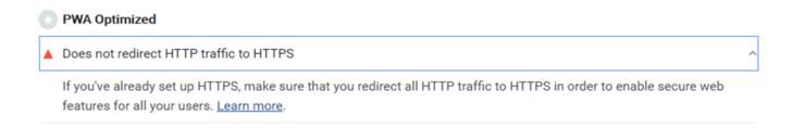 Lighthouse のPWA Optimizedに表示された「Does not redirect HTTPS traffic to HTTPS」