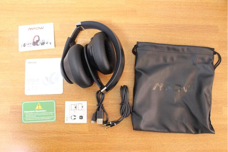 「MPOW H20 QCC3034 VER.ワイヤレスヘッドホン」同梱品