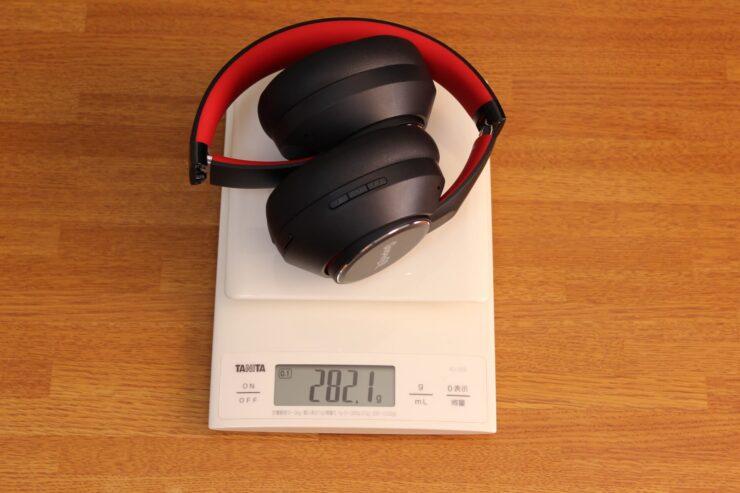 「OneOdio SuperEQ S1」スケールで重さ測定しているところ