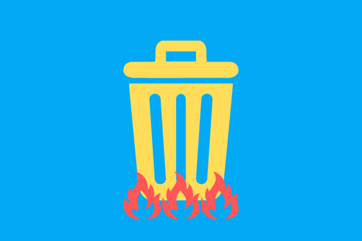 ゴミ箱を燃やしている