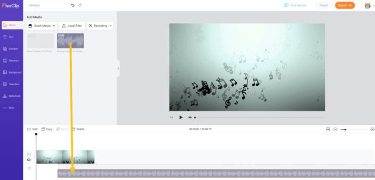 FlexClip オーディオをドラッグアンドドロップ