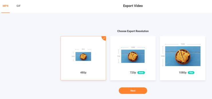 FlexClip エクスポート選択