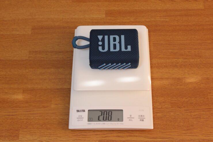 「JBL Go 3 ポータブルBluetoothスピーカー」スケールで重さを量ったところ